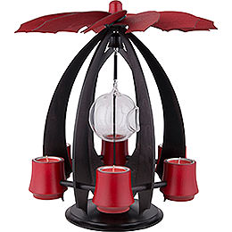 1 - Tier Modern Tea Light Pyramid NOVA  -  Anthracite/Rubyred  -  38cm / 15 inch