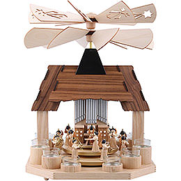 1 - Tier Pyramid  -  Angels with Two Counter Rotating Winged Wheels  -  41cm / 16 inch