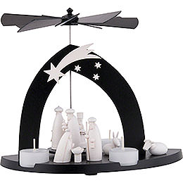 1 - Tier Pyramid Nativity  -  Black  -  23cm / 9.1 inch