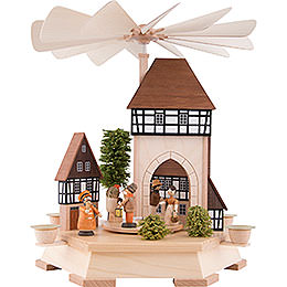 1 - Tier Pyramid  -  Old Town with City Gate, Natural  -  32cm / 12.6 inch