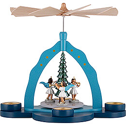 1 - Tier Pyramid  -  Tea Candle Holder and Three Angels, Colored  -  30cm / 11.8 inch