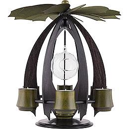 1 - stöckige Moderne Teelichtpyramide NOVA anthrazit/moosgrün  -  38cm