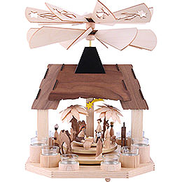1 - stöckige Pyramide Christi Geburt mit zwei gegenläufigen Flügelrädern  -  41cm