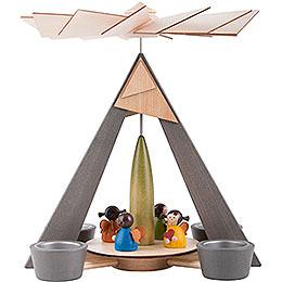 1 - stöckige Pyramide Engelchen bunt  -  29cm