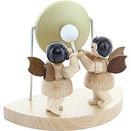 2 Engel am großen Gong passend zu Wolkenstecksystem  -  natur  -  stehend  -  6cm