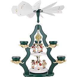 2 - Tier Pyramid with Angels, Green  -  47x37x37cm / 18.5x14.5x14.5 inch