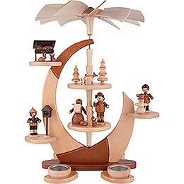 2 - Tier Tea Candle Pyramide Sail with Figures  -  42cm / 16.5 inch
