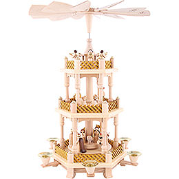 3 - Tier Pyramid  -  Nativity Scene Natural Wood  -  40cm / 16 inch