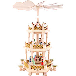 3 - Tier Pyramid  -  Nativity Scene Painted  -  40cm / 16 inch