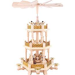 3 - stöckige Pyramide Christi Geburt natur  -  40cm