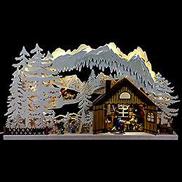 3D - Doppelschwibbogen Skihütte  -  72x43x8cm
