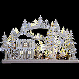 3D Double Arch  -  Forest Hut with Forest Workers and White Frost  -  62x38x8cm / 24x15x3 inch