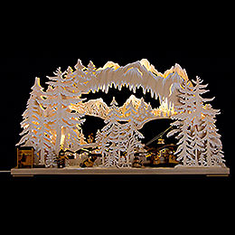 3D Double Arch  -  Ski Station with White Frost  -  72x43cm / 28x17 inch