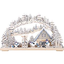 3D - Schwibbogen Snowmolliparadies, farbig grau mit Raureif  -  72x43cm