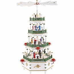 4 - stöckige Pyramide Christi Geburt weiss mit Spielwerk  -  52cm