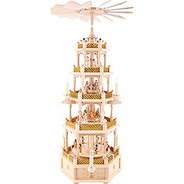 5 - Tier Pyramid  -  Nativity Scene Natural Wood  -  75cm / 30 inch