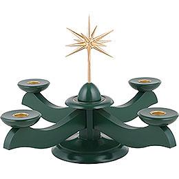 Adventsleuchter mit Weihnachtsstern und Adventsgrün  -  29x29x26cm