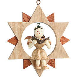 Angel Sitting in a Star Singer, Natural  -  9cm / 3.5 inch