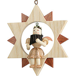 Angel Sitting in a Star with Pan Pipe, Natural  -  9cm / 3.5 inch