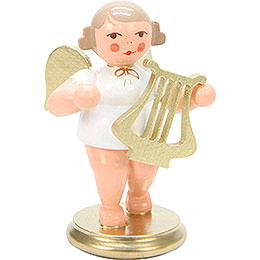 Angel White/Gold with Lyre  -  6,0cm / 2 inch
