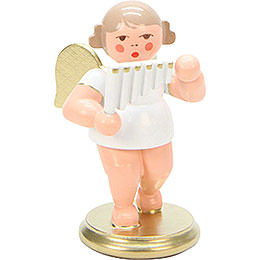 Angel White/Gold with Pan Flute  -  6,0cm / 2 inch