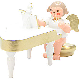 Angel White/Gold with Piano  -  6,0cm / 2 inch