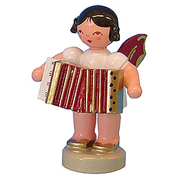 Angel with Accordion  -  Red Wings  -  Standing  -  6cm / 2,3 inch