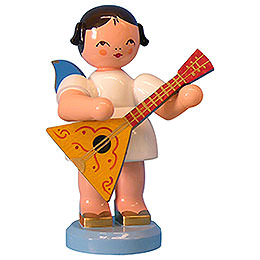Angel with Balalaika  -  Blue Wings  -  Standing  -  9,5cm / 3,7 inch
