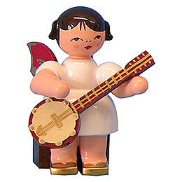 Angel with Banjo  -  Red Wings  -  Sitting  -  5cm / 2 inch