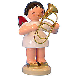 Angel with Baritone  -  Red Wings  -  Standing  -  9,5cm / 3,7 inch