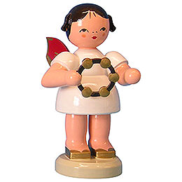 Angel with Jingle Ring  -  Red Wings  -  Standing  -  9,5cm / 3,7 inch