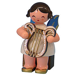 Angel with Lyre  -  Blue Wings  -  Sitting  -  5cm / 2 inch