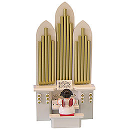 "Angel with Organ with Musical Mechanism ""Silent Night""  -  Red Wings  -  Standing  -  6cm / 2,3 inch"
