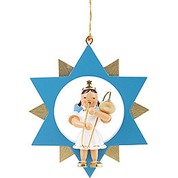 Angel with Slide Trombone in Star, Colored  -  9cm / 3.5 inch