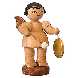 Angel with Small Gong  -  Natural Colors  -  Standing  -  6cm / 2,3 inch
