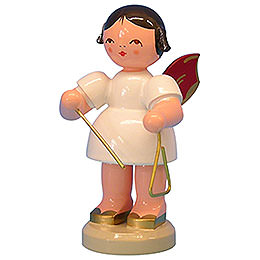 Angel with Triangle  -  Red Wings  -  Standing  -  9,5cm / 3,7 inch