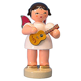 Angel with Ukulele  -  Red Wings  -  Standing  -  6cm / 2,3 inch