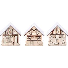 Aufsteckhaus verschneit, 3er Set  -  5,5x5cm