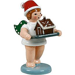 Bäckerengel mit Mütze und Pfefferkuchenhaus  -  6,5cm