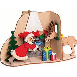 Bastelset Rauchhaus Weihnachtsmann mit Elch  -  11cm