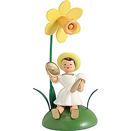 Blumenkind mit Narzisse und Becken sitzend  -  12cm