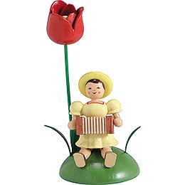 Blumenkind mit Tulpe und Harmonika sitzend  -  12cm