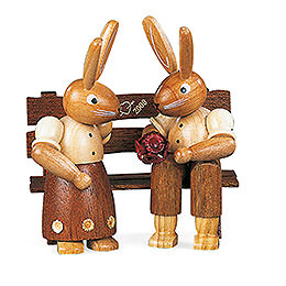 Bunny Couple Sitting  -  9cm / 3.5 inch
