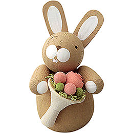 Bunny with Rose Bouquet  -  3cm / 1.2 inch