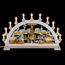 Candle Arch  -  Christmas Market with Pyramid, Colored  -  65x40cm / 26x17.5 inch