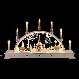 Candle Arch  -  'Church of Seiffen with Carolers' with LED Interior Lights  -  63x35cm / 25.6x13.8 inch