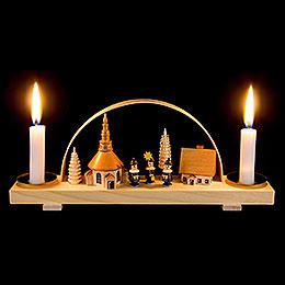 Candle Arch Dorf Seiffen mit Kurrende  -  natur  -  24x12cm / 9.4x4.7 inch