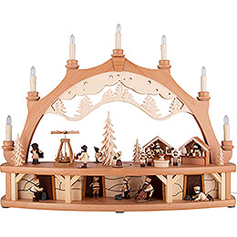 Candle Arch  -  Market Place with Moving Figurines  -  68x50cm / 26.8x19.7 inch