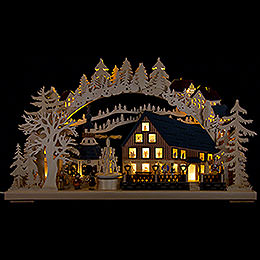 Candle Arch  -  Pyramid House with Turning Pyramid  -  72x43cm / 28x17 inch