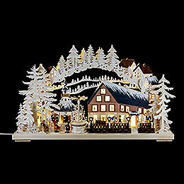 Candle Arch  -  Pyramid House with White Frost and Turning Pyramid  -  72x43cm / 28x17 inch